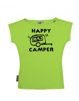 UAX Dámské tričko Netopýr s potiskem. Fitness kolekce pro ženy s potiskem  1116 HAPPY CAMPER v barvě PARROT GREEN  9307f04d50