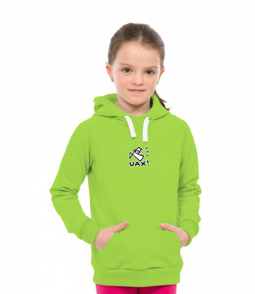 2817338ff7f Dětská mikina přes hlavu s kapucí a potiskem pro děti s potiskem 1086 LOGO  UAX! v barvě PARROT GREEN