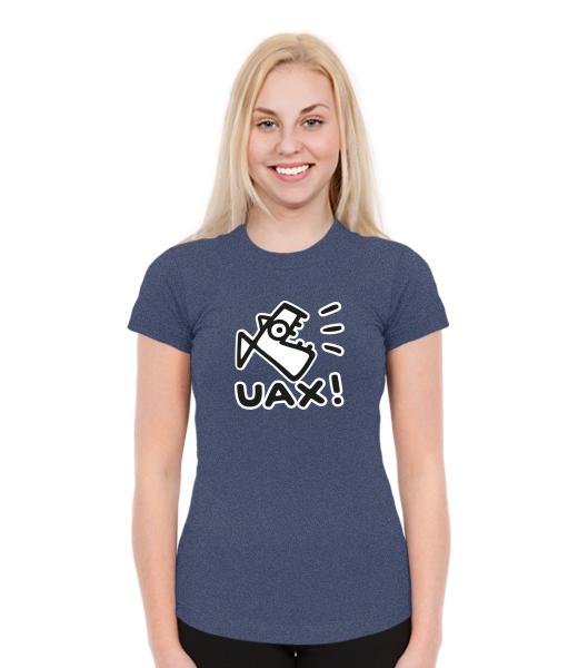 Dámská trička SKRATDA pro ženy s potiskem 1086 LOGO UAX! v barvě JEANS 2955098026