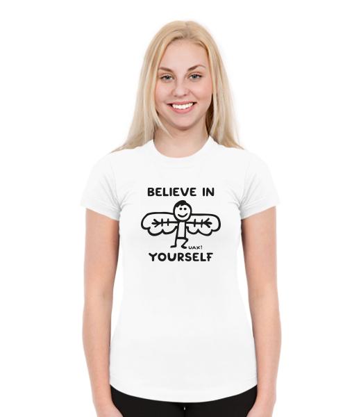 Dámská trička SKRATDA pro ženy s potiskem 1228 BELIEVE IN YOURSELF v barvě  WHITE a95af55dab
