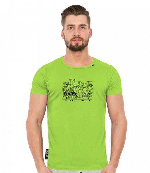Pánské tričko SLIM FIT UAX! pro muže s potiskem 40 OSTRAVA v barvě PARROT  GREEN f0961632cc