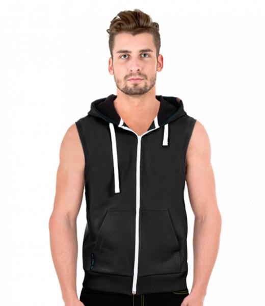 48219caa751 Pánská vesta s kapucí pro muže v barvě BLACK