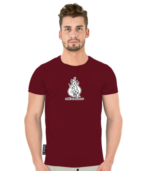 Pánské tričko BALI pro muže s potiskem 1208 HOŘÍME LÁSKOU v barvě DARK RED 8634afa7d9
